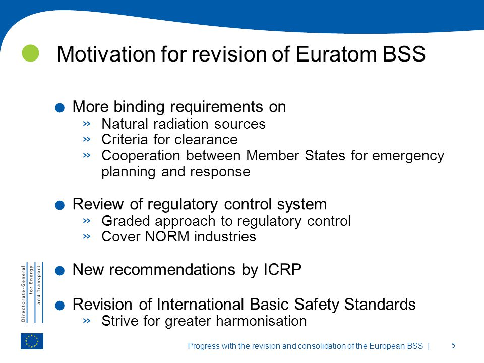 Motivation for revision of Euratom BSS