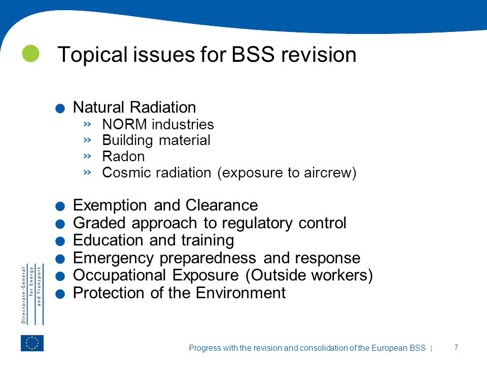 Topical issues for BSS revision