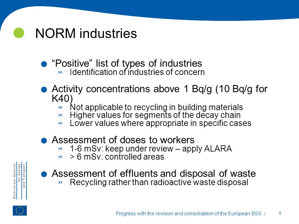 NORM industries Positive list of types of industries