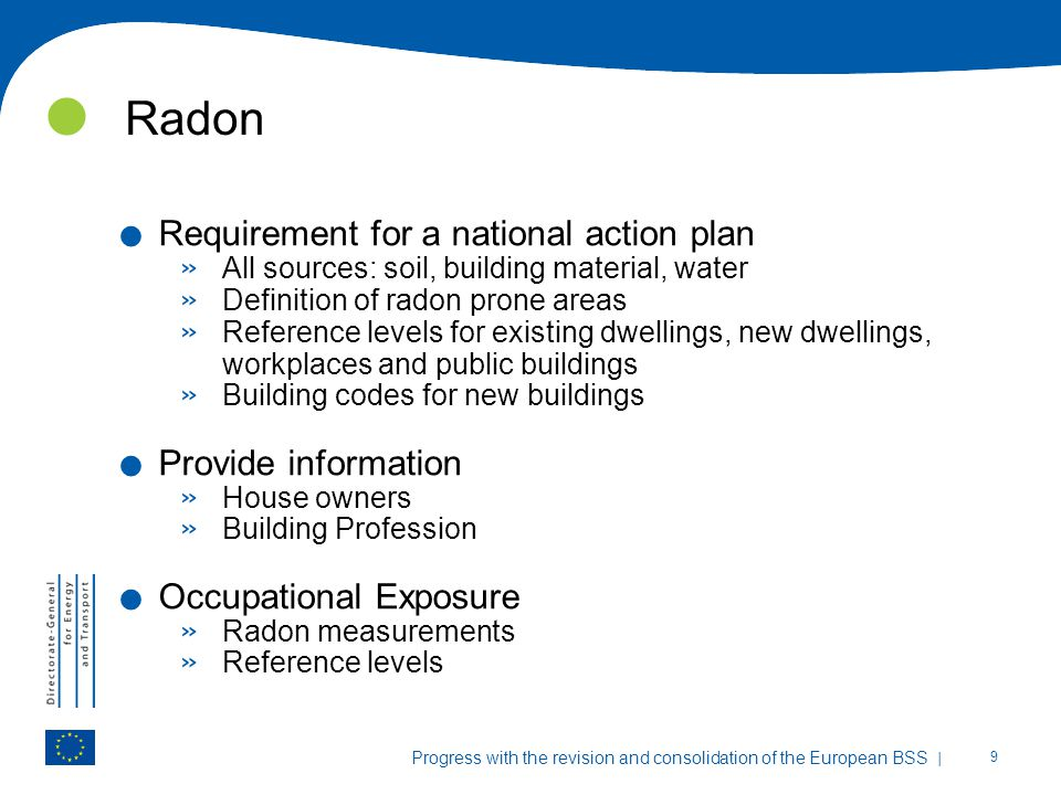 Radon Requirement for a national action plan Provide information