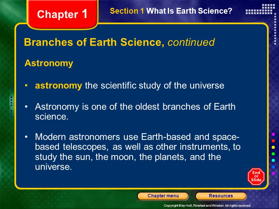 Branches of Earth Science, continued