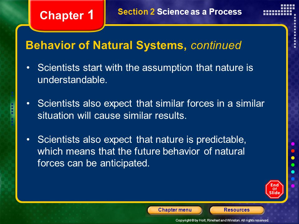 Behavior of Natural Systems, continued