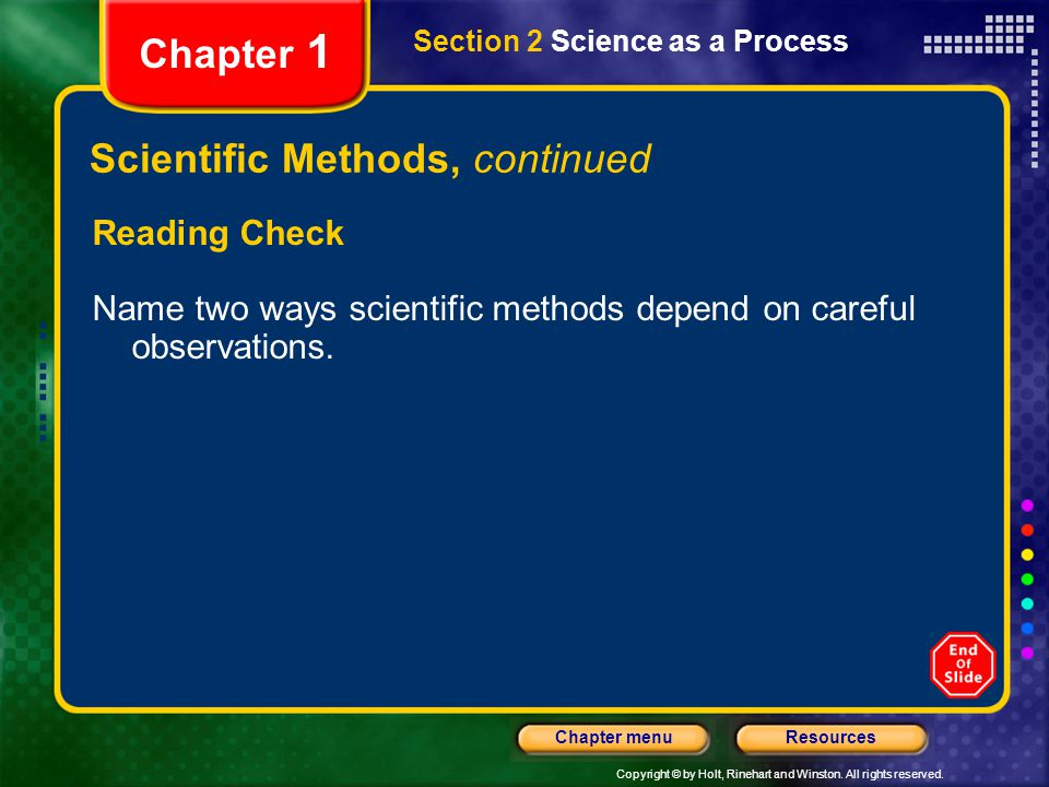 Scientific Methods, continued
