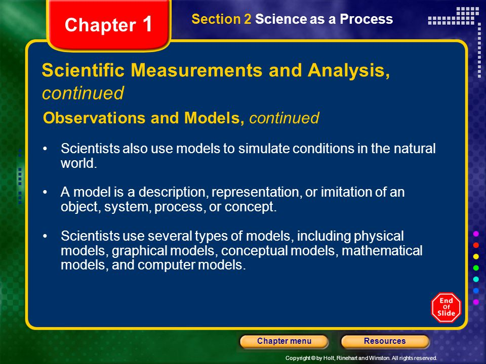 Scientific Measurements and Analysis, continued
