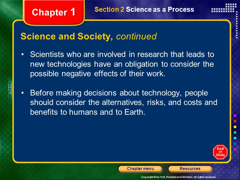 Science and Society, continued
