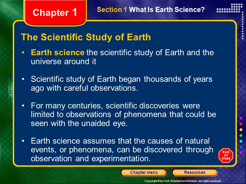 The Scientific Study of Earth