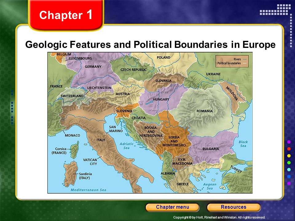 Geologic Features and Political Boundaries in Europe