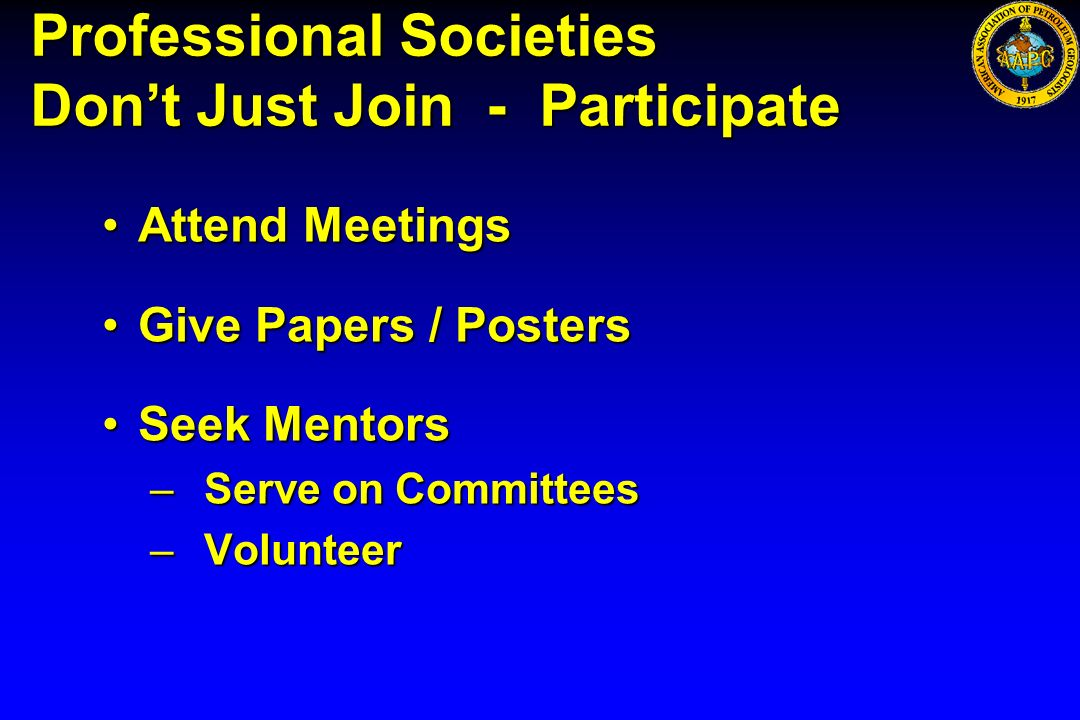Professional Societies Don't Just Join - Participate