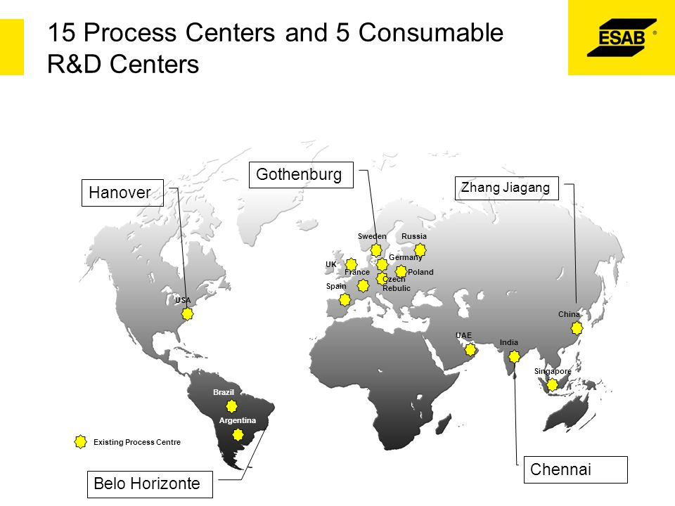 15 Process Centers and 5 Consumable R&D Centers