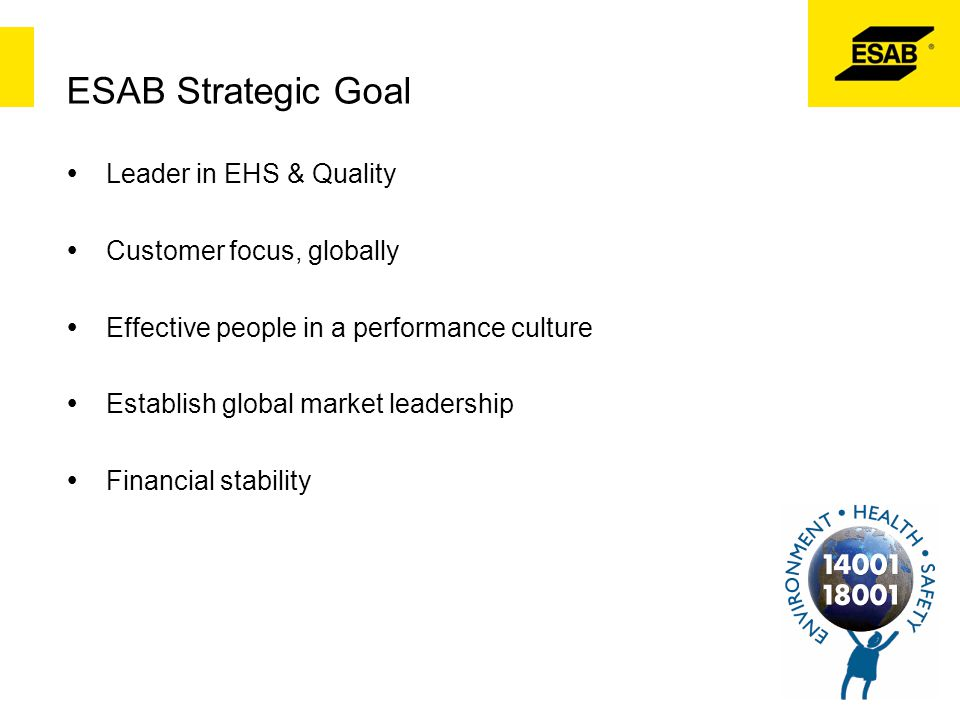 ESAB Strategic Goal Leader in EHS & Quality Customer focus, globally
