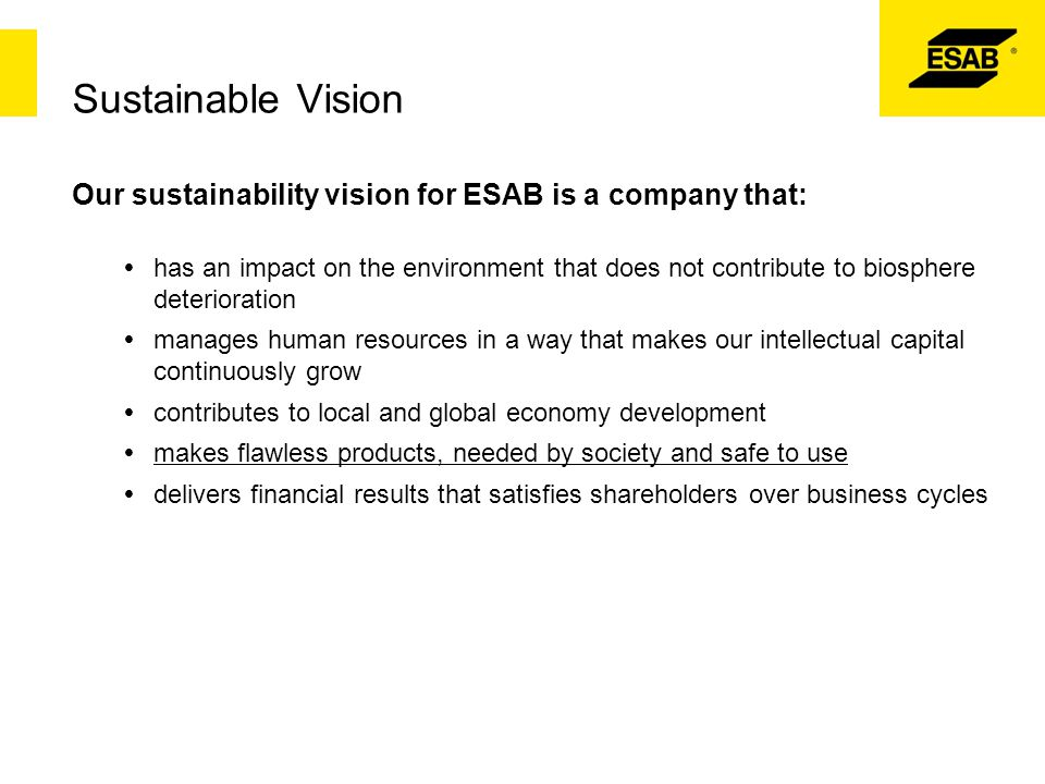Sustainable Vision Our sustainability vision for ESAB is a company that: