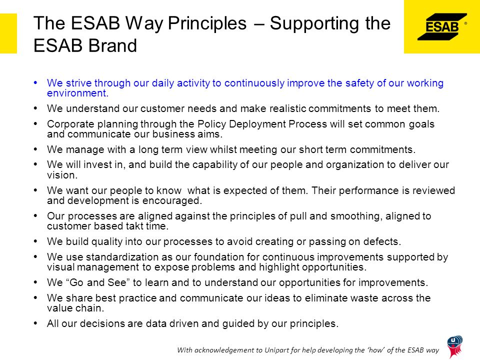 The ESAB Way Principles – Supporting the ESAB Brand