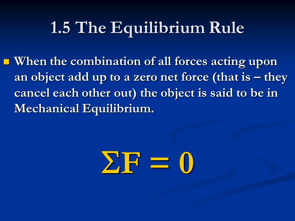 SF = 0 1.5 The Equilibrium Rule