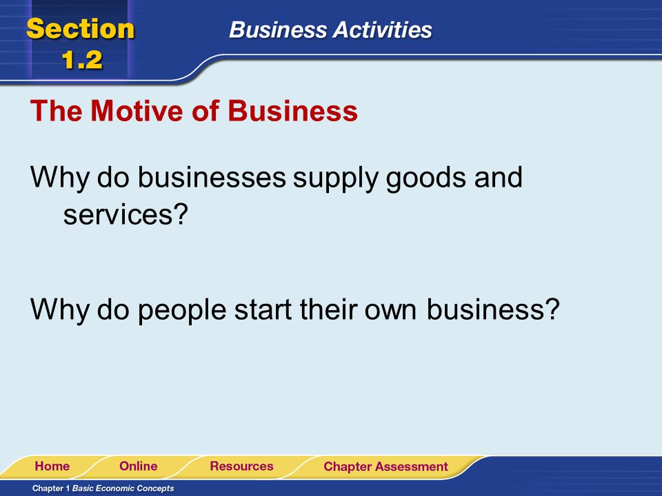 The Motive of Business Why do businesses supply goods and services.