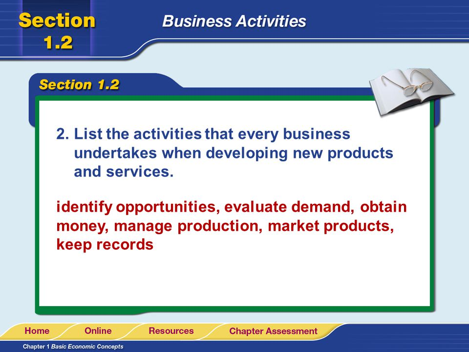 List the activities that every business undertakes when developing new products and services.
