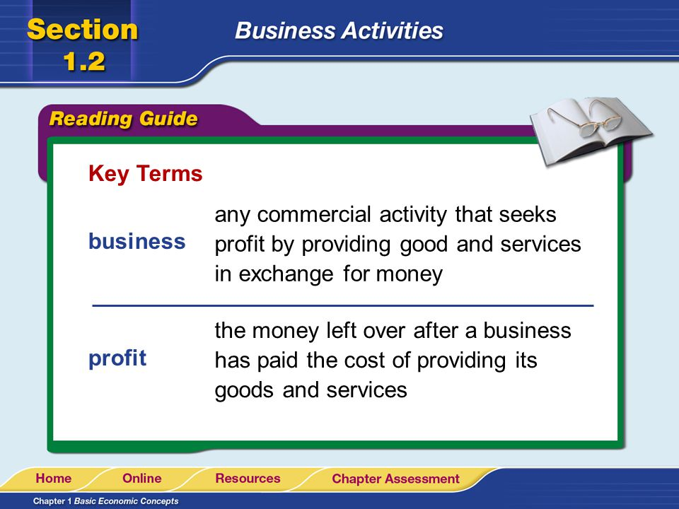 Key Terms any commercial activity that seeks profit by providing good and services in exchange for money.