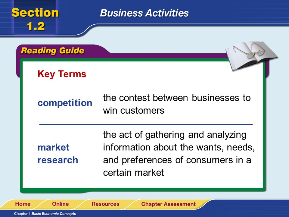 Key Terms the contest between businesses to win customers. competition.