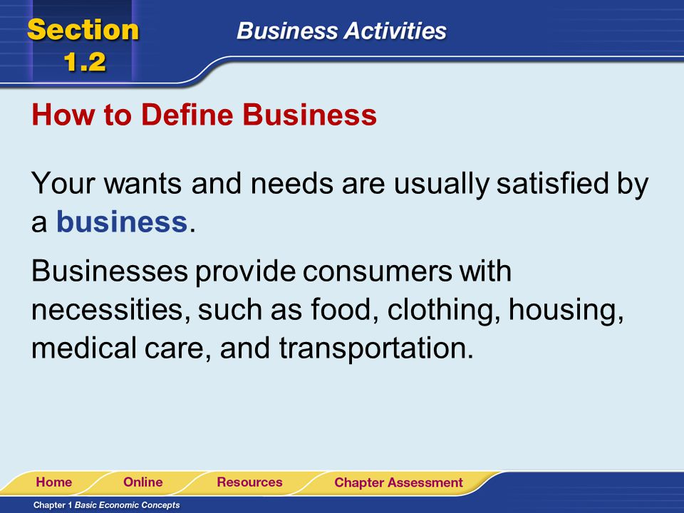 How to Define Business Your wants and needs are usually satisfied by a business.