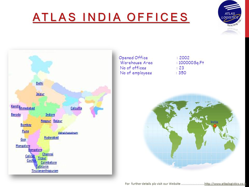 ATLAS INDIA OFFICES Opened Office : 2002 Warehouse Area : 100000Sq.Ft