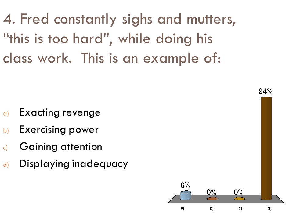 4. Fred constantly sighs and mutters, this is too hard , while doing his class work. This is an example of: