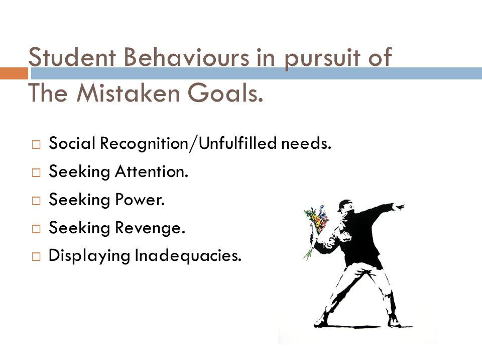 Student Behaviours in pursuit of The Mistaken Goals.