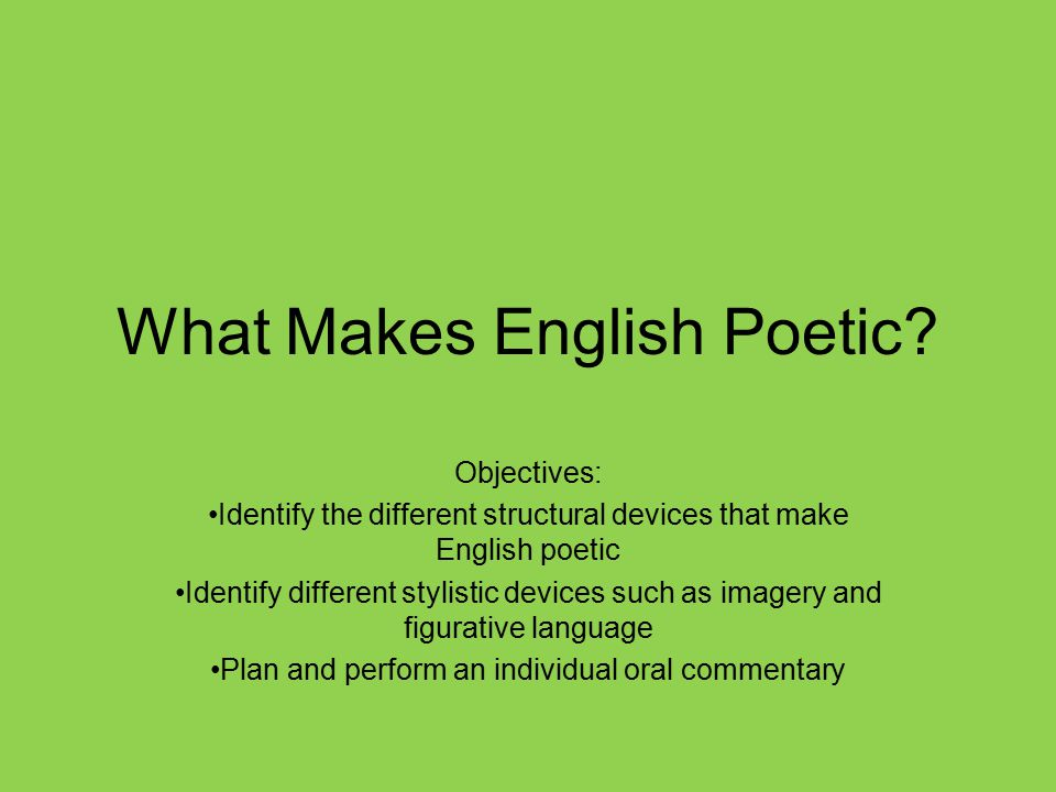What Makes English Poetic