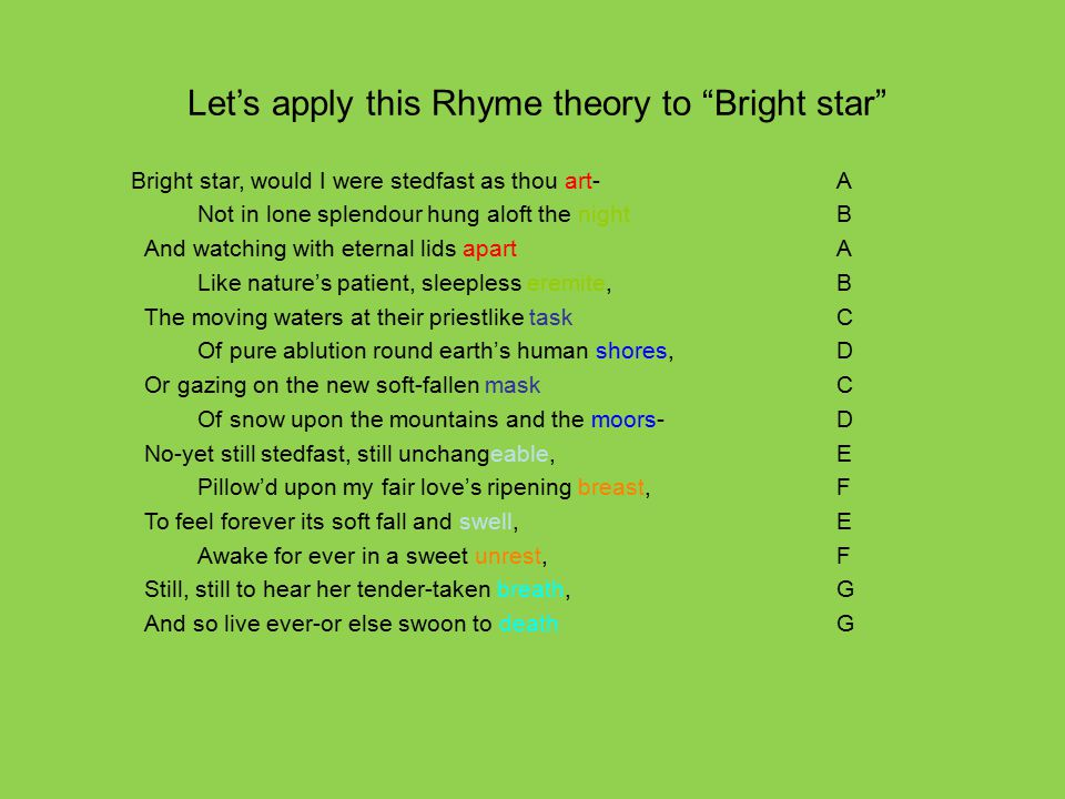 Let's apply this Rhyme theory to Bright star