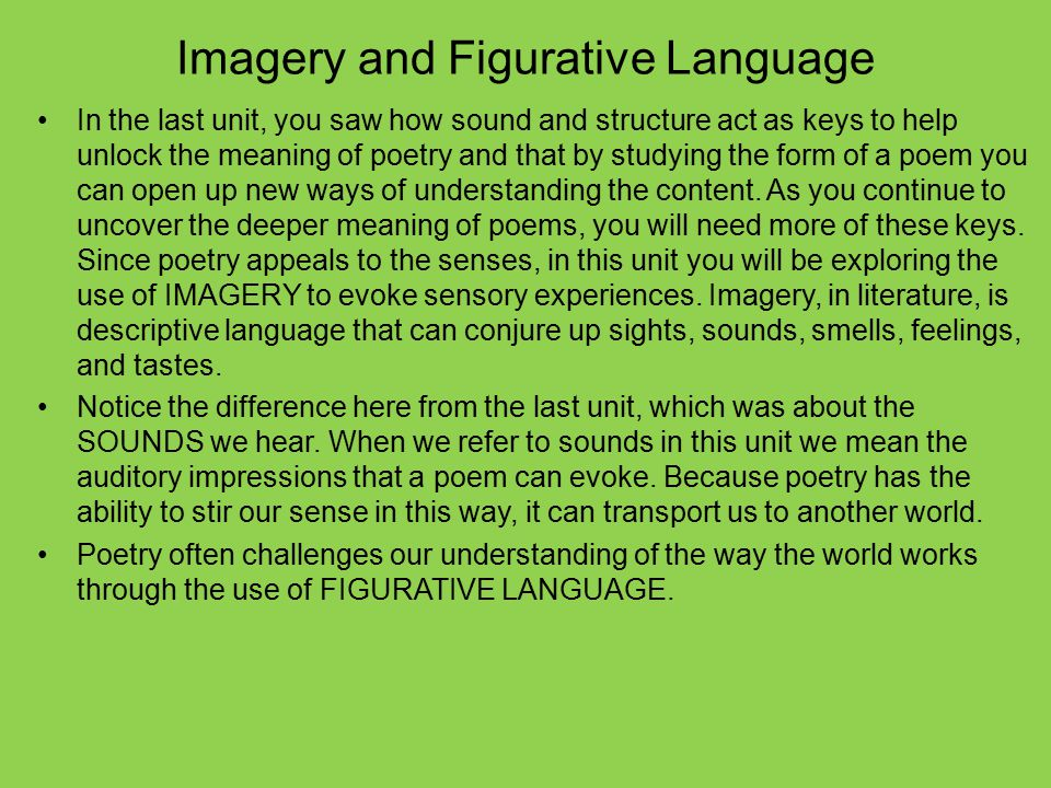 Imagery and Figurative Language