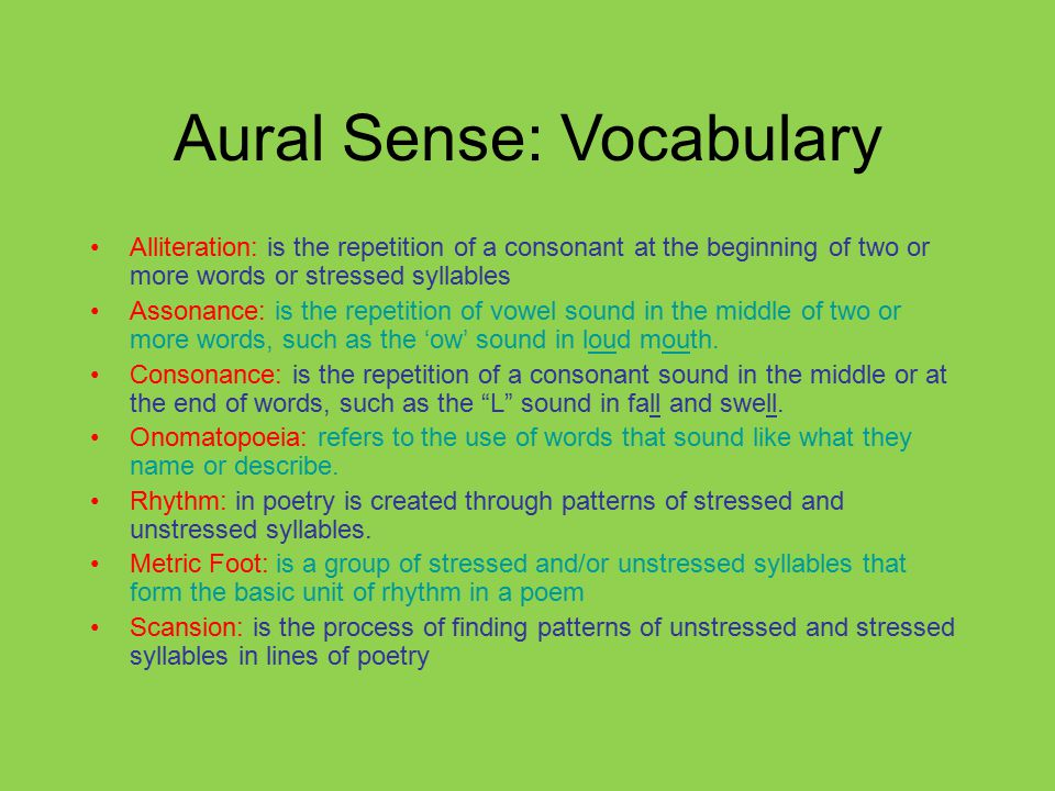 Aural Sense: Vocabulary