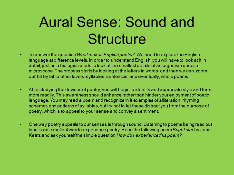 Aural Sense: Sound and Structure
