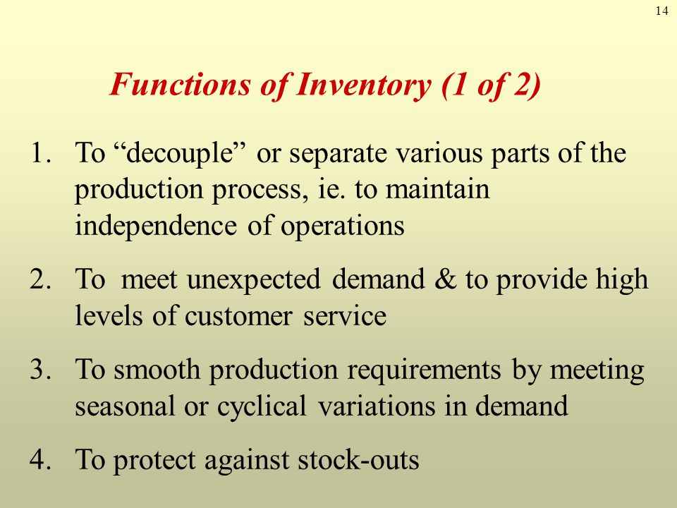 Functions of Inventory (1 of 2)