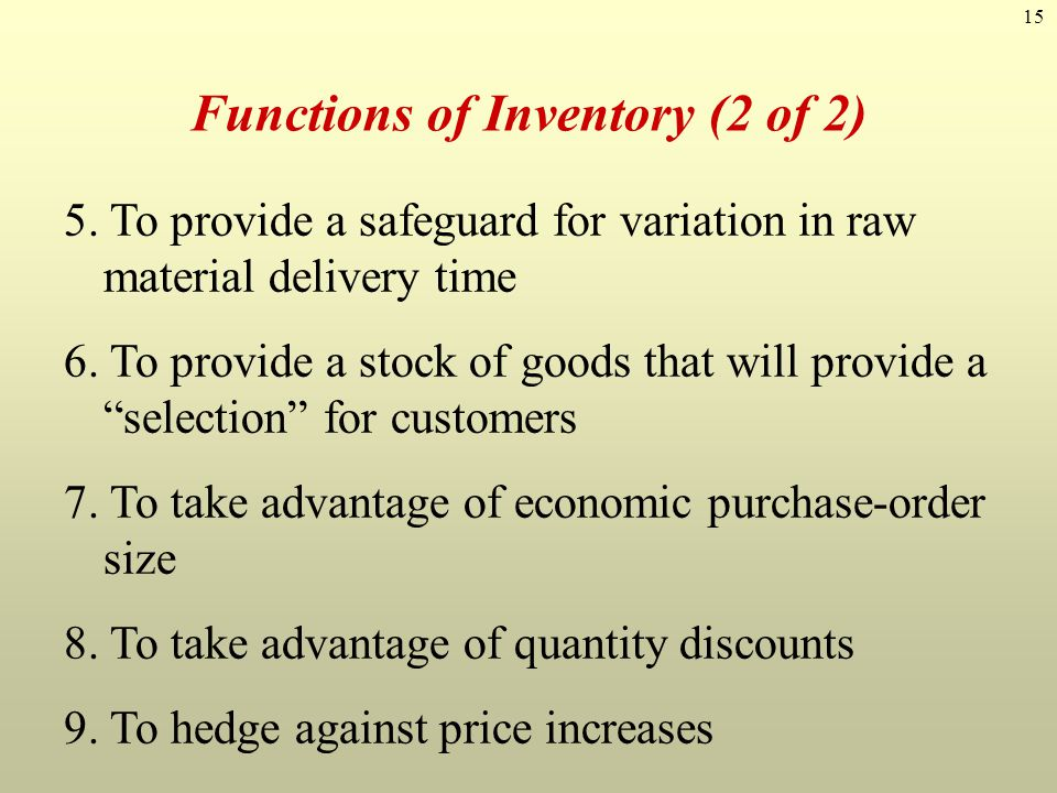 Functions of Inventory (2 of 2)