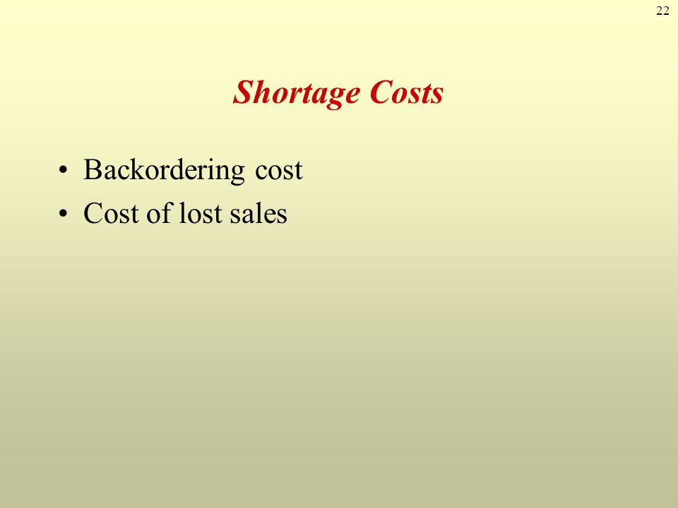 Shortage Costs Backordering cost Cost of lost sales