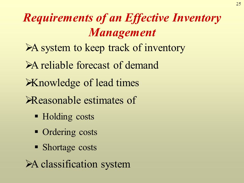Requirements of an Effective Inventory Management