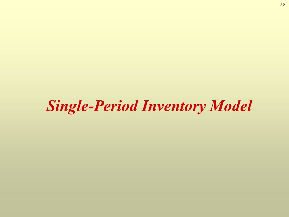 Single-Period Inventory Model