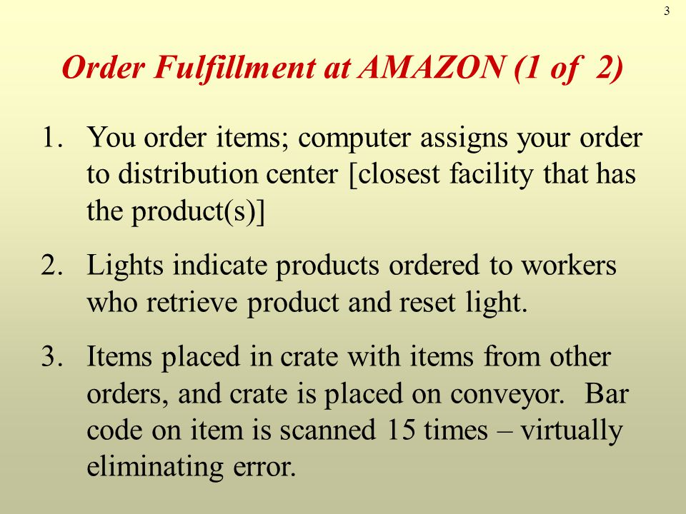 Order Fulfillment at AMAZON (1 of 2)