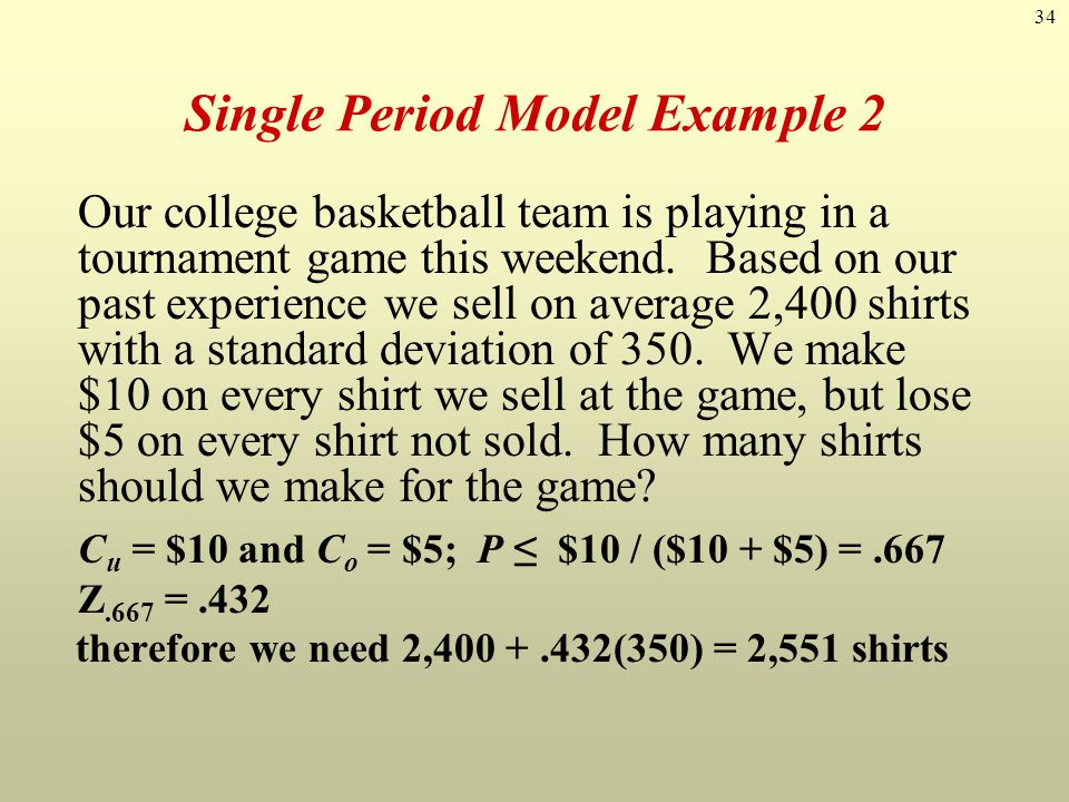 Single Period Model Example 2