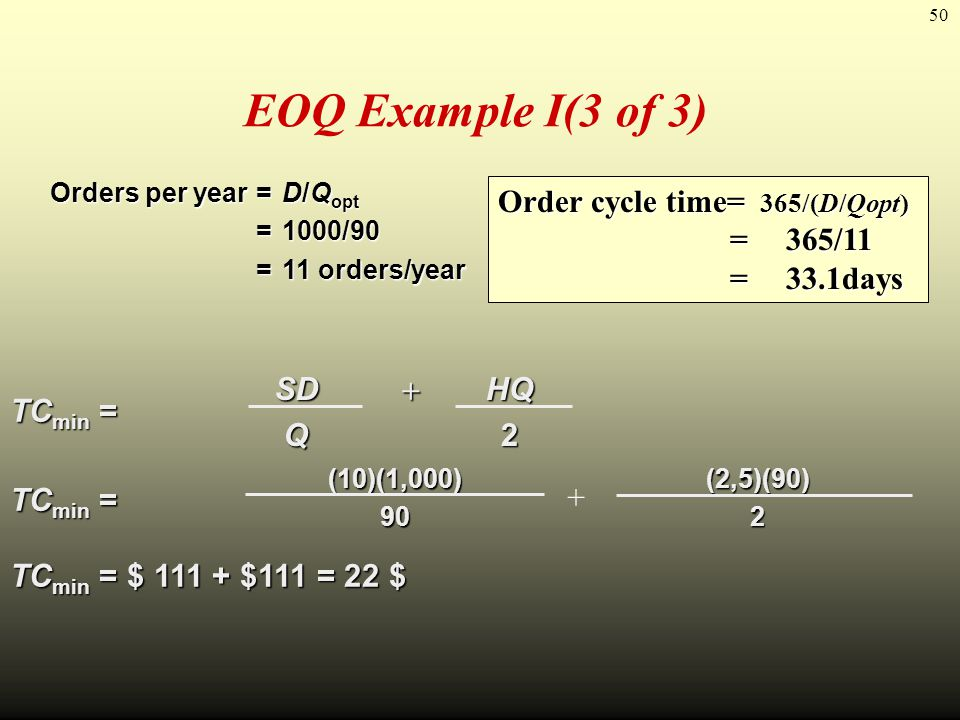 EOQ Example I(3 of 3) Order cycle time= 365/(D/Qopt) = 365/11