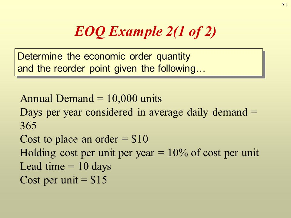 EOQ Example 2(1 of 2) Annual Demand = 10,000 units