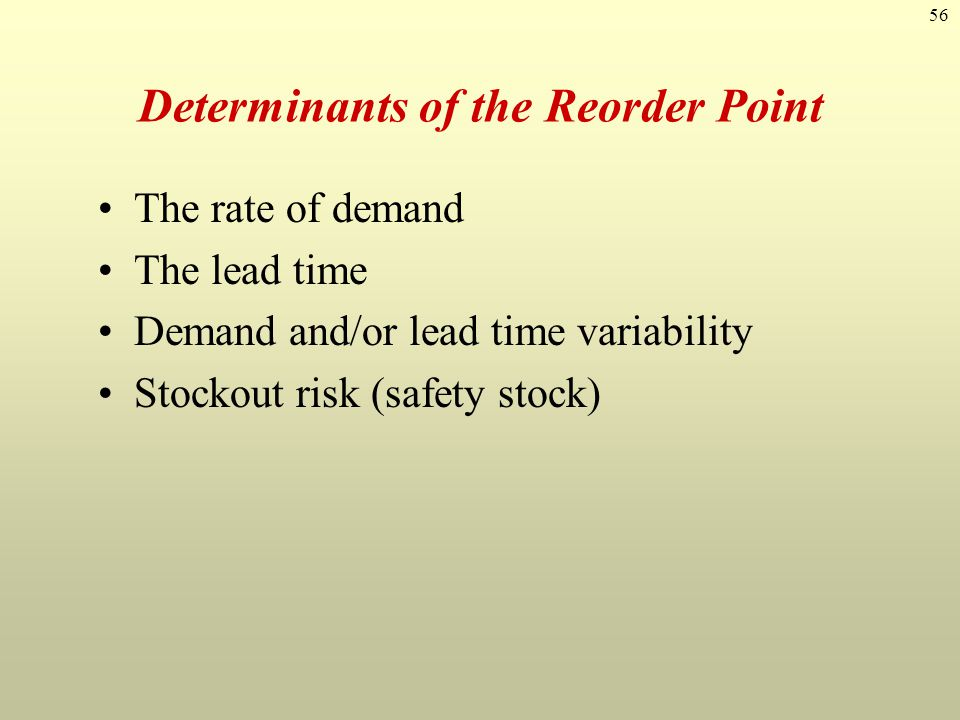 Determinants of the Reorder Point