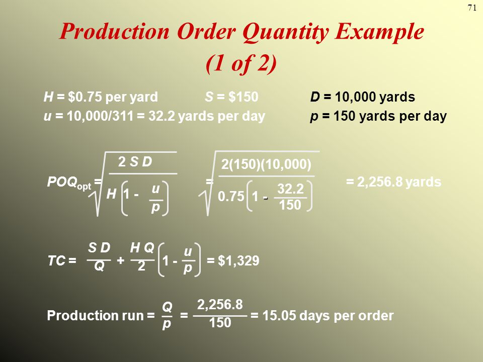 Production Order Quantity Example (1 of 2)