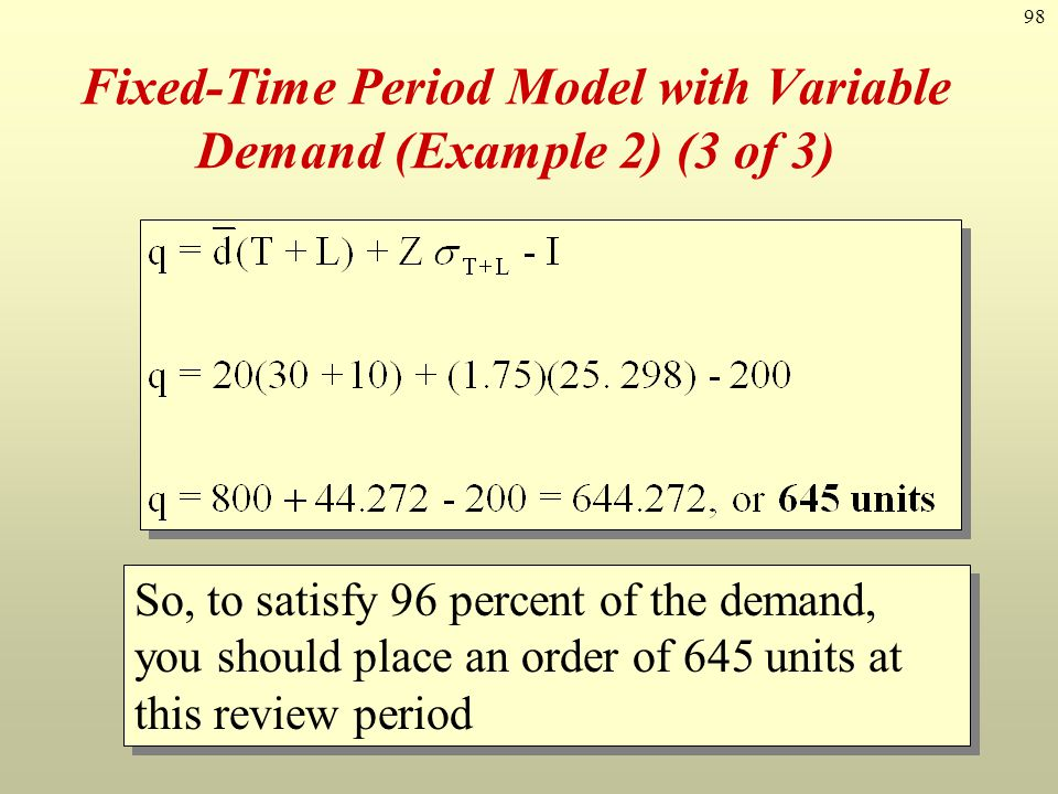 Fixed-Time Period Model with Variable Demand (Example 2) (3 of 3)