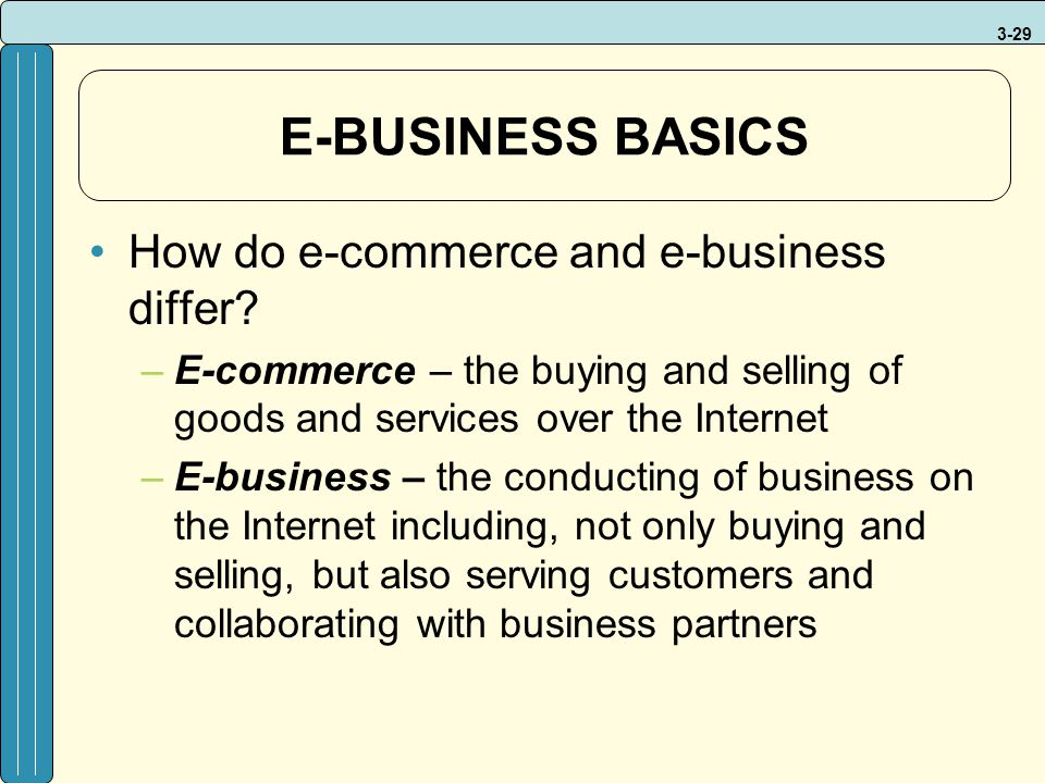 E-BUSINESS BASICS How do e-commerce and e-business differ