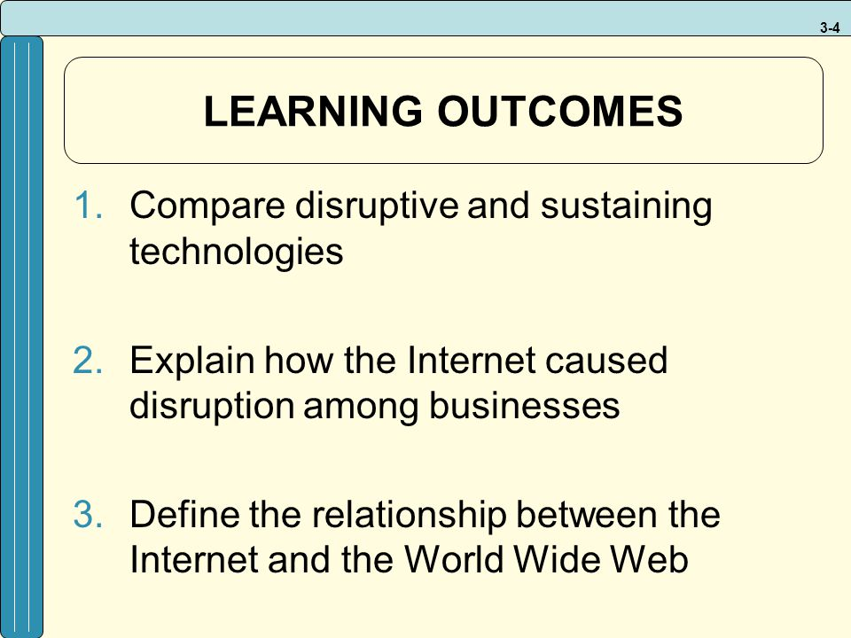 LEARNING OUTCOMES Compare disruptive and sustaining technologies