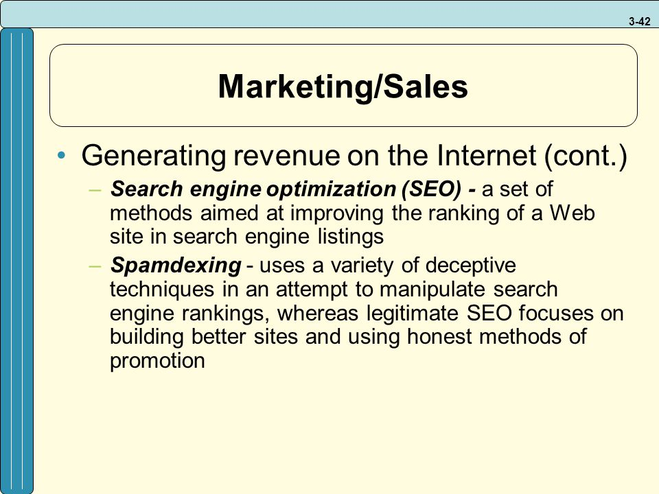 Marketing/Sales Generating revenue on the Internet (cont.)
