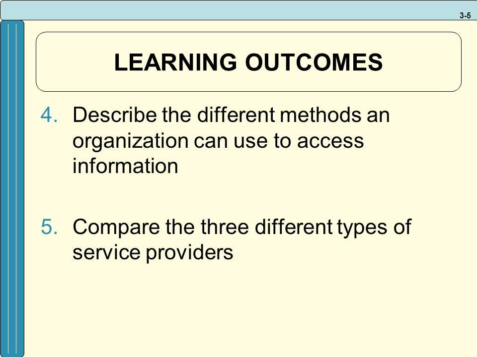 LEARNING OUTCOMES Describe the different methods an organization can use to access information.