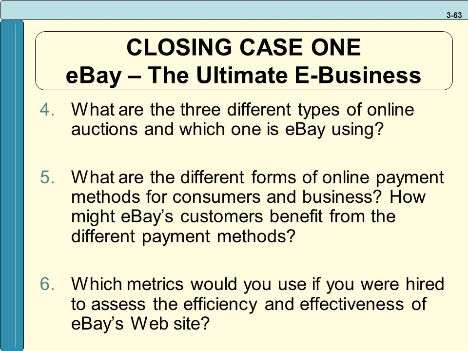 CLOSING CASE ONE eBay – The Ultimate E-Business