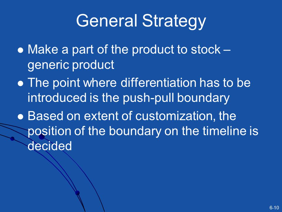 General Strategy Make a part of the product to stock – generic product