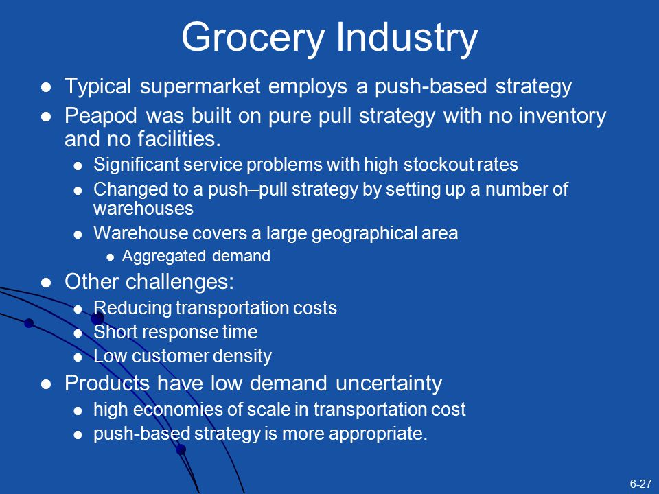 Grocery Industry Typical supermarket employs a push-based strategy