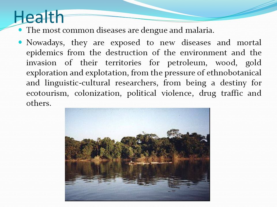 Health The most common diseases are dengue and malaria.